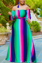 Green Sexy Fashion Cold Shoulder Long Dress