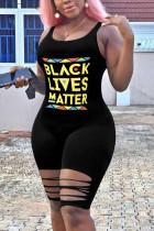 Black Fashion Sexy Printed Sleeveless Romper