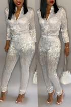 White Trendy Zipper Design Blending One-piece Jumpsuit
