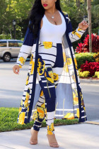 Yellow Sexy Printing Cardigan Long Sleeve Trousers Suit