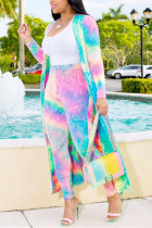 Pink Sexy Printing Cardigan Long Sleeve Trousers Suit