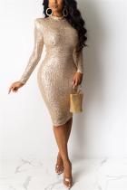 Khaki Fashion Sexy Sequin Long Sleeve Dress