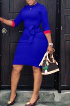 Blue Casual Patchwork Slim Knee Length Dress