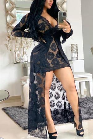 Black Sexy Fashion Long Sleeve Lace Dress