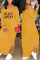 Yellow Euramerican Dew Shoulder Letters Printed Ankle Length Dress