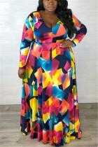 Multicolor Large Size Print Waist Temperament Dress