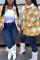 Khaki Fashion Casual Plaid Print Cardigan Turndown Collar Outerwear