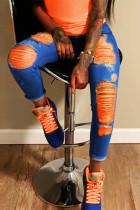DarkBlueOrange Fashion Casual Stitching Ripped Jeans