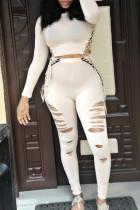 White Casual Broken Holes Two-piece Pants Set