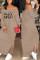 Khaki Euramerican Dew Shoulder Letters Printed Ankle Length Dress