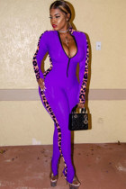 purple Sexy Patchwork Leopard grain Polyester Long Sleeve O Neck  Jumpsuits