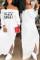 White Euramerican Dew Shoulder Letters Printed Ankle Length Dress
