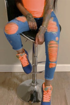 BlueOrange Fashion Casual Stitching Ripped Jeans