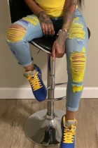 Light Blue Fashion Casual Stitching Ripped Jeans