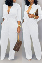 White Fashion Sexy Print Tooling Jumpsuit