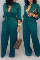 Green Fashion Sexy Print Tooling Jumpsuit