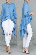 Blue Chic Asymmetrical Denim Blouses