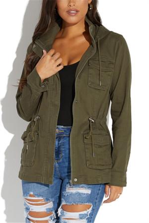 Green Fashion Casual Hooded Collar Long Sleeved Jacket