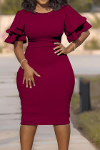 Wine Red Fashion Slim Large Size Step Skirt Dress