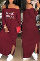 Wine Red Euramerican Dew Shoulder Letters Printed Ankle Length Dress