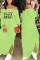 Fluorescent green Euramerican Dew Shoulder Letters Printed Ankle Length Dress