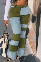 Green Fashion Patchwork Denim Jeans