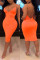Orange Sexy Halter V-Neck Bandage Dress