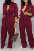 Wine Red Fashion Sexy Print Tooling Jumpsuit