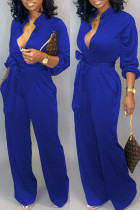 Blue Fashion Sexy Print Tooling Jumpsuit