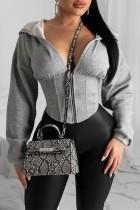 Grey hooded Zippered Solid asymmetrical Slim fit Patchwork Polyester Pure Long Sleeve