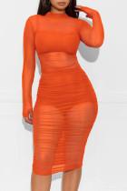 Orange Cap Sleeve Long Sleeves O neck Pencil Dress Knee-Length Patchwork Print Dresses