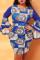 Blue Sexy Polyester Print O Neck Pencil Skirt Plus Size Dress