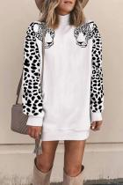 White Turtleneck Solid Animal Prints Patchwork Polyester Pure Long Sleeve  Sweats & Hoodies