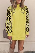 Yellow Turtleneck Solid Animal Prints Patchwork Polyester Pure Long Sleeve  Sweats & Hoodies