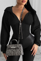 Black hooded Zippered Solid asymmetrical Slim fit Patchwork Polyester Pure Long Sleeve