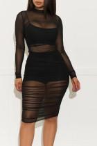 Black Cap Sleeve Long Sleeves O neck Pencil Dress Knee-Length Patchwork Print Dresses