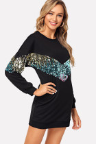 Black O Neck Gradient Geometric Sequin Cotton Others Long Sleeve  Sweats & Hoodies