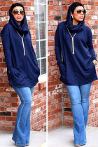 Navy Blue hooded Solid Patchwork Polyester Pure Long Sleeve