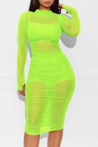 Fluorescent green Cap Sleeve Long Sleeves O neck Pencil Dress Knee-Length Patchwork Print Dresses