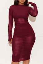 Wine Red Cap Sleeve Long Sleeves O neck Pencil Dress Knee-Length Patchwork Print Dresses