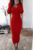 Red Casual Long Sleeves Slim Blending Mid Calf Dress