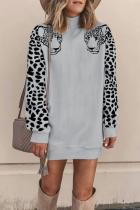 Grey Turtleneck Solid Animal Prints Patchwork Polyester Pure Long Sleeve  Sweats & Hoodies