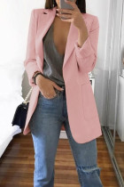 Pink Casual Long Sleeves Suit Jacket