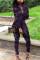 purple Street Print Split Joint Shirt Collar Long Sleeve Regular Sleeve Two Pieces