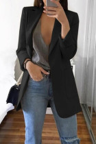Black Casual Long Sleeves Suit Jacket