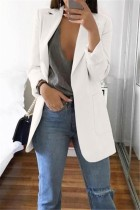 White Casual Long Sleeves Suit Jacket