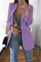 Purple Casual Long Sleeves Suit Jacket