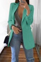 Green Casual Long Sleeves Suit Jacket