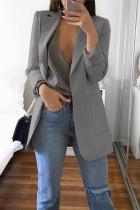 Grey Casual Long Sleeves Suit Jacket