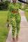 Green Casual Print Mandarin Collar Long Sleeve Regular Sleeve Short Two Pieces